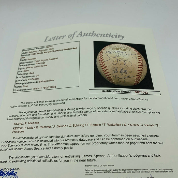 Historic 2004 Boston Red Sox Team Signed World Series Game Used Baseball JSA COA