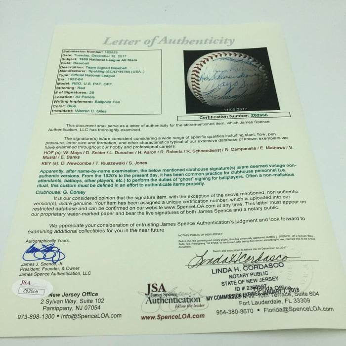 1955 All Star Game Signed Baseball Roy Campanella Hank Aaron Willie Mays JSA COA