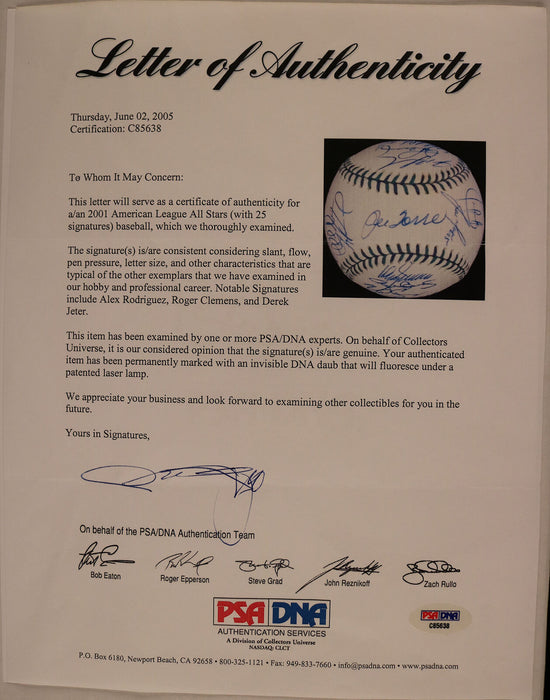 2001 All Star Team Signed All Star Game Baseball Derek Jeter Arod 25 Sig PSA DNA