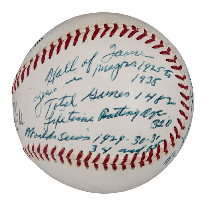 The Finest Mickey Cochrane Single Signed Heavily Inscribed Stat Baseball PSA DNA