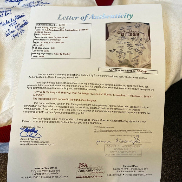 Beautiful A League Of Their Own AAGPBL Signed Vintage Jacket 40 Sigs JSA COA