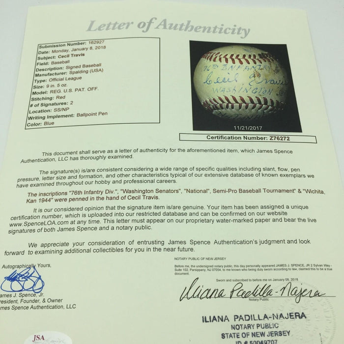 Cecil Travis World War 2 Signed Inscribed Game Used Championship Baseball JSA