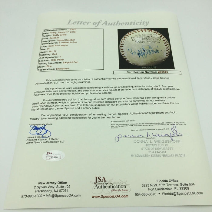 Rare Duffy Lewis Single Signed Autographed Baseball JSA COA Boston Red Sox
