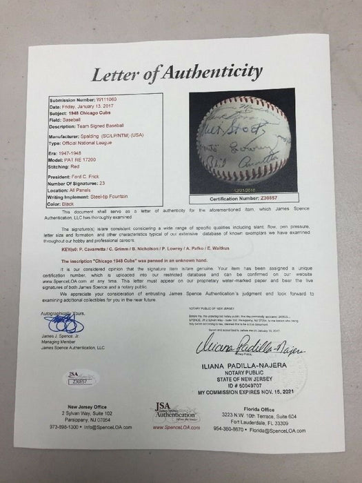 1948 Chicago Cubs Team Signed National League Ford Frick Baseball JSA COA
