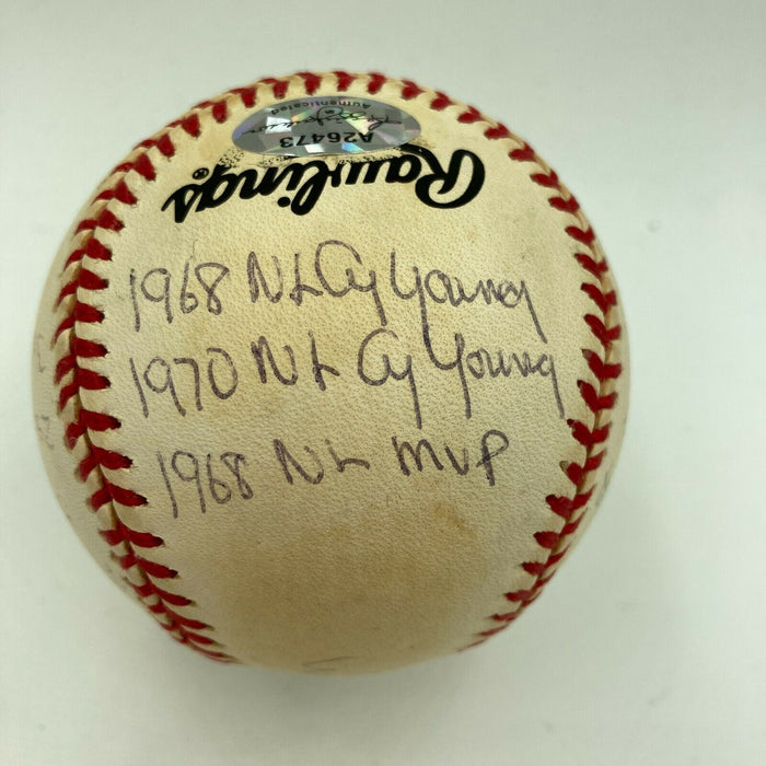 Bob Gibson Signed Heavily Inscribed Career STAT Baseball Reggie Jackson COA