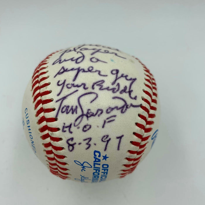 Rare Tommy Lasorda Jack Clark Signed Baseball Presented To Jack Ripper Clark JSA