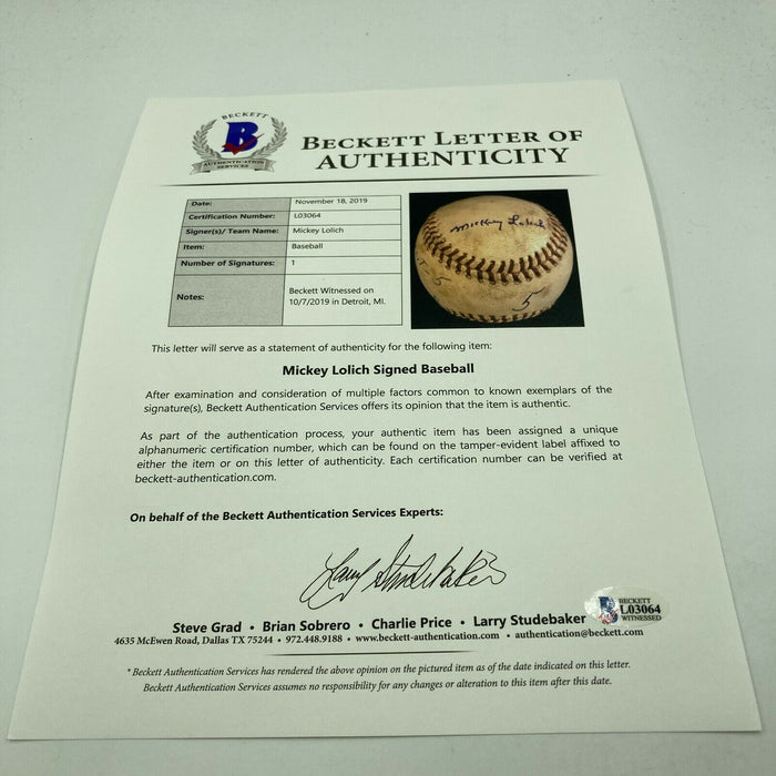 Mickey Lolich Signed Career Win No. 107 Final Out Game Used Baseball Beckett COA