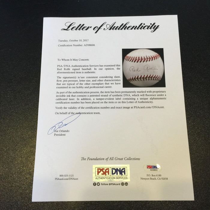 Rare Red Rolfe Single Signed 1950 American League Baseball PSA DNA & JSA COA