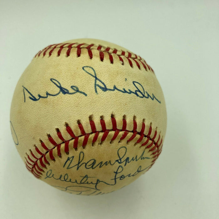 Whitey Ford Duke Snider Warren Spahn Al Kaline Hall Of Fame Signed Baseball