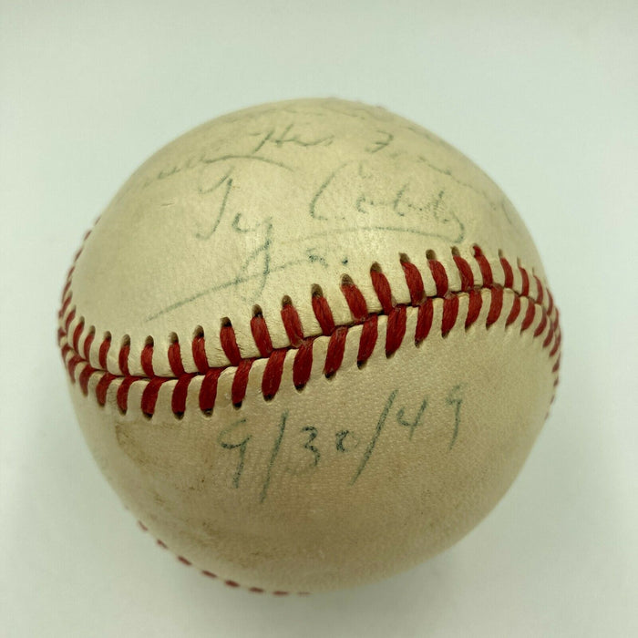 Ty Cobb Single Signed Autographed 1949 Official American League Baseball JSA COA