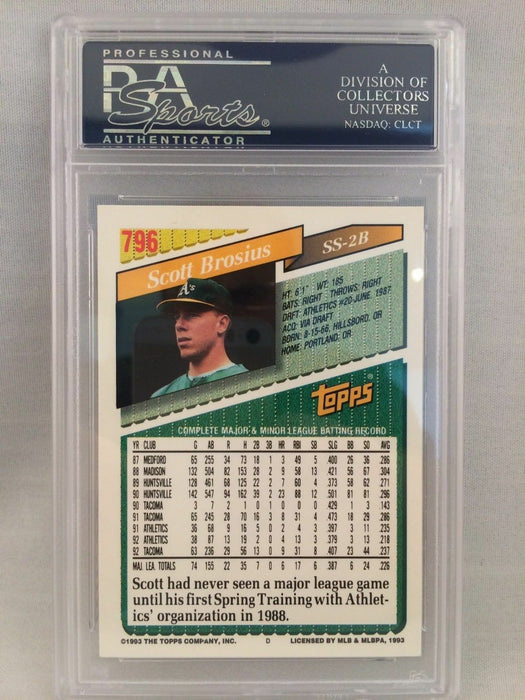 1993 Topps Scott Brosius Signed Autographed baseball Card Psa Dna
