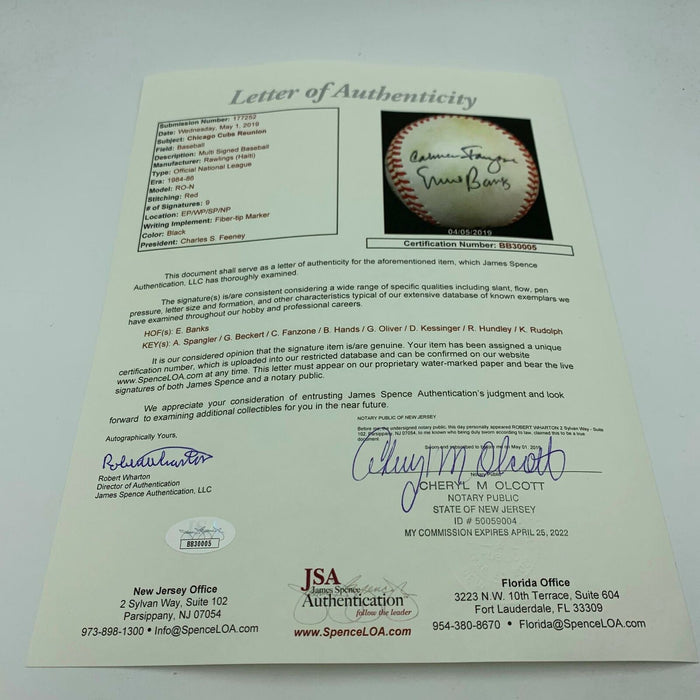 1969 Chicago Cubs Reunion Team Signed Baseball Ernie Banks With JSA COA