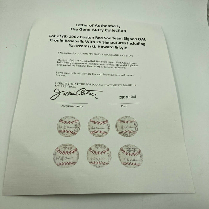 1967 Boston Red Sox AL Champs Team Signed American League Baseball With COA