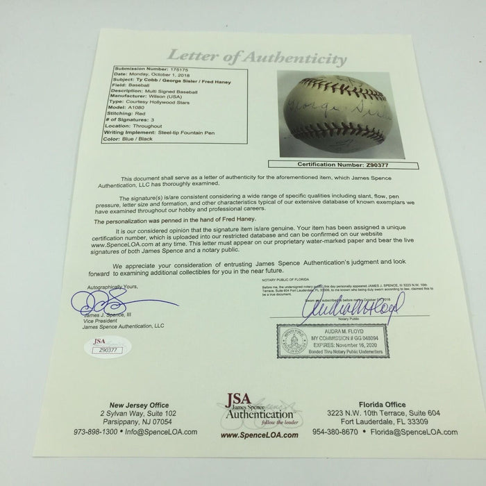 Magnificent Ty Cobb & George Sisler Signed Baseball With JSA COA