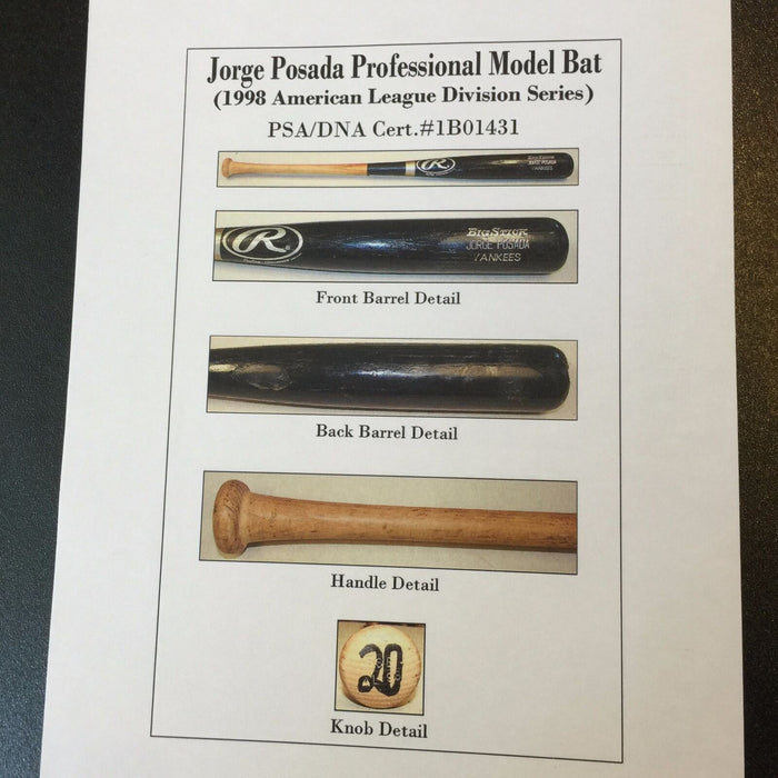 Rare 1998 Jorge Posada ALDS Playoffs Game Used Rawlings Baseball Bat PSA DNA COA