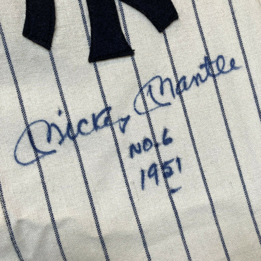 Beautiful Mickey Mantle No. 6 Signed Inscribed NY Yankees Rookie Jersey PSA JSA