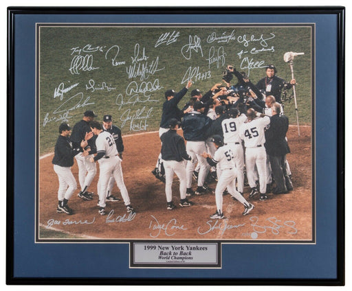 1999 Yankees W.S. Champs Team Signed 16x20 Photo Derek Jeter Mariano Rivera BAS