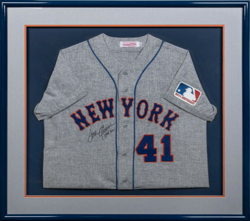Tom Seaver HOF 1992 Signed 1969 New York Mets Mitchell & Ness Jersey Framed JSA