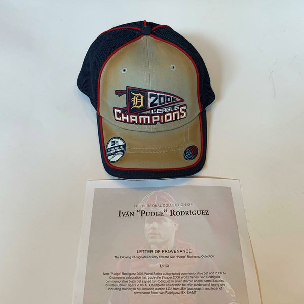 Ivan Rodriguez Game Used 2006 Detroit Tigers AL Champs Celebration Hat With COA