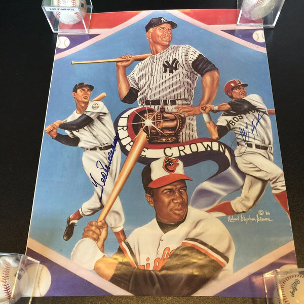 Ted Williams & Carl Yastrzemski Signed Large 18x24 Triple Crown Photo JSA COA