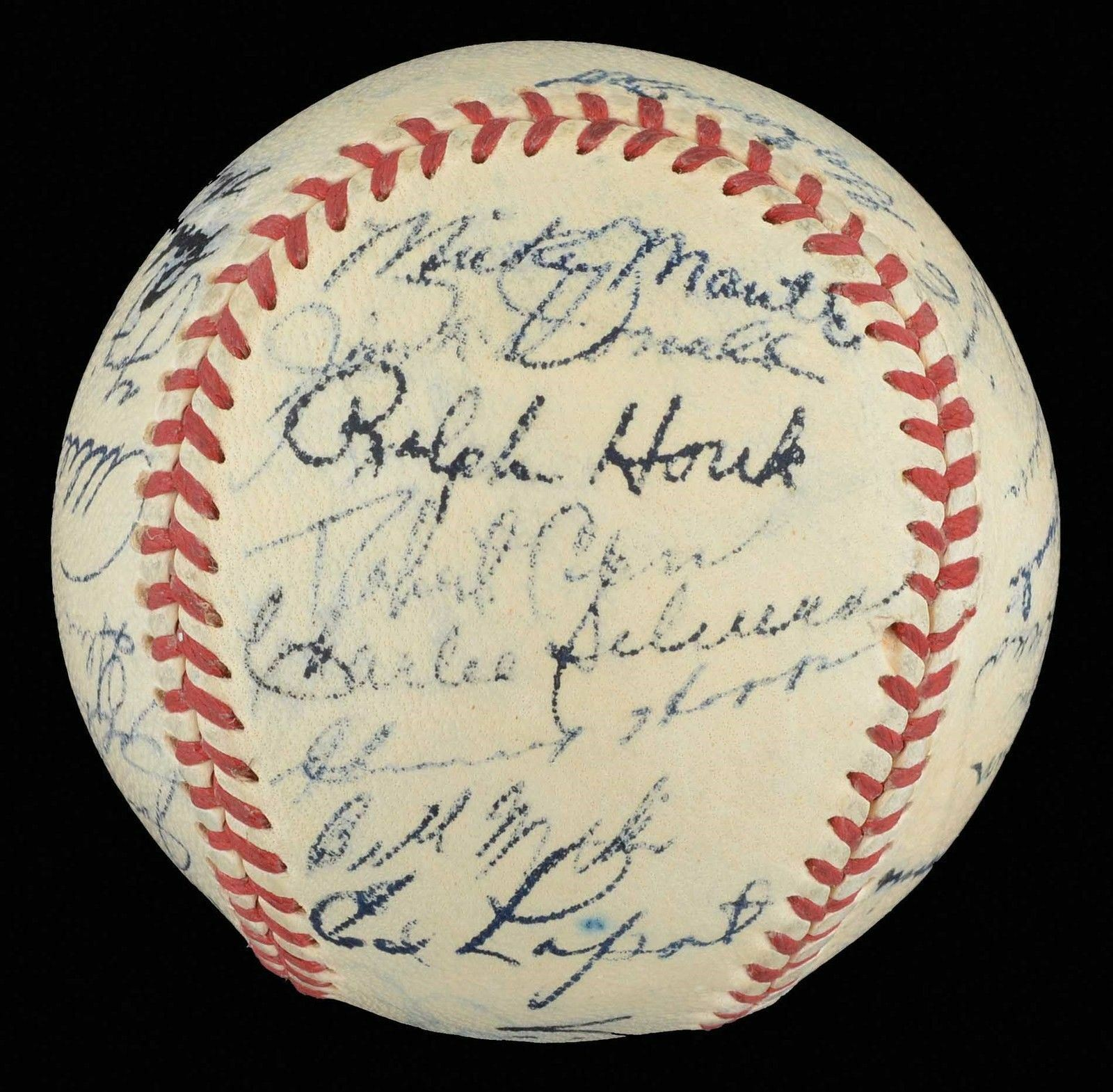 1952 NY Yankees WS Champs Team Signed Baseball Mickey Mantle Joe Dimaggio JSA