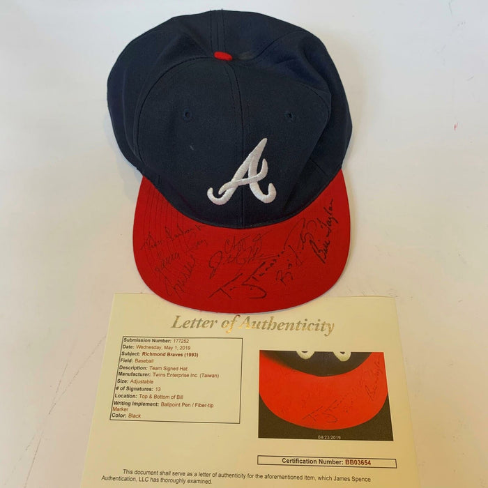 1993 Chipper Jones Pre Rookie Richmond Atlanta Braves Team Signed Hat JSA COA