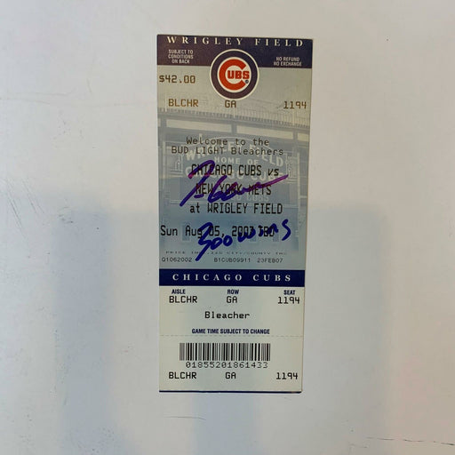Tom Glaive 300th Win Signed Inscribed Original Full Ticket With JSA COA