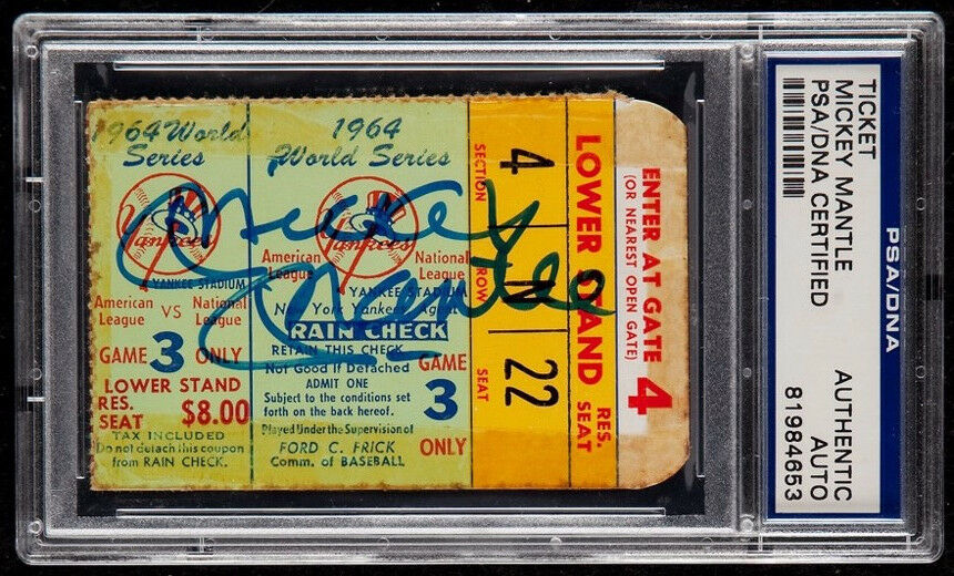 Rare Mickey Mantle Signed Original 1964 World Series Ticket PSA DNA COA