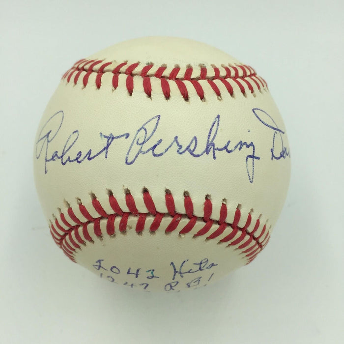 Robert Pershing Bobby Doerr Full Name Signed Heavily Career Stat Baseball PSA