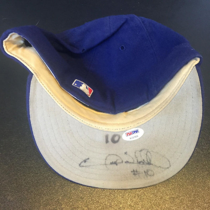 1990's Garry Sheffield Signed Game Used Los Angeles Dodgers Cap Hat PSA DNA COA