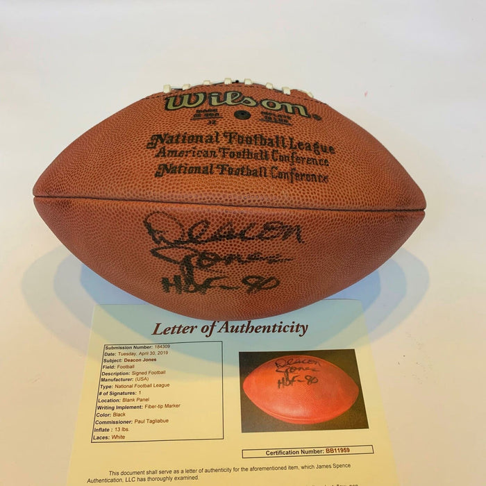Deacon Jones Hall Of Fame 1980 Signed Authentic Wilson NFL Football With JSA COA