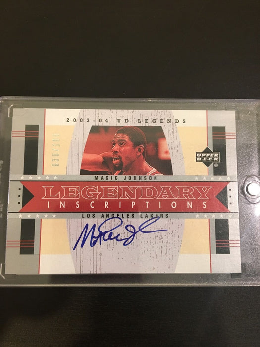 2003-04 UD Legends Magic Johnson Legendary Inscriptions #d 030/100