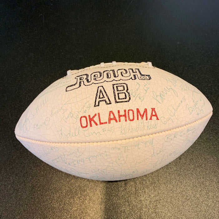1985 Oklahoma Sooners Troy Aikman Pre Rookie Team Signed Football 80 Sigs! JSA