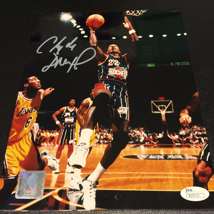 Clyde Drexler Signed Autographed 8x10 Photo Houston Rockets With JSA COA