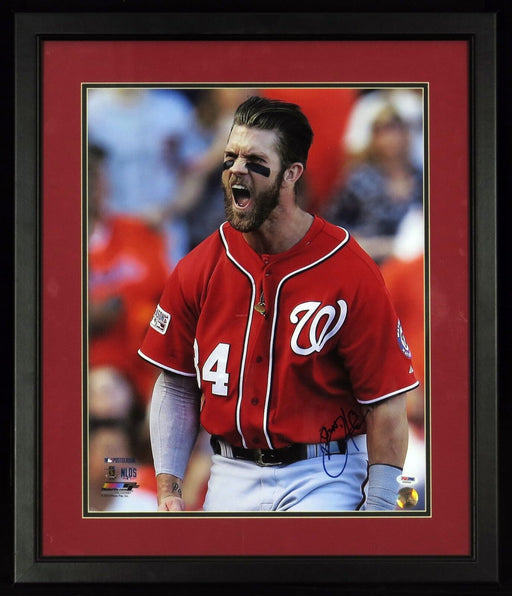Beautiful Bryce Harper Signed NLDS Playoffs Framed 16x20 Photo PSA DNA Sticker