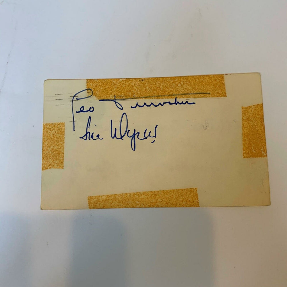 Leo Durocher Signed Autographed 1940's Postcard