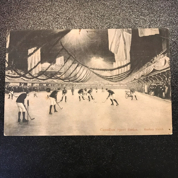 1893 Canadian Sports Series Hockey Match Montreal Victoria Skating Rink Postcard