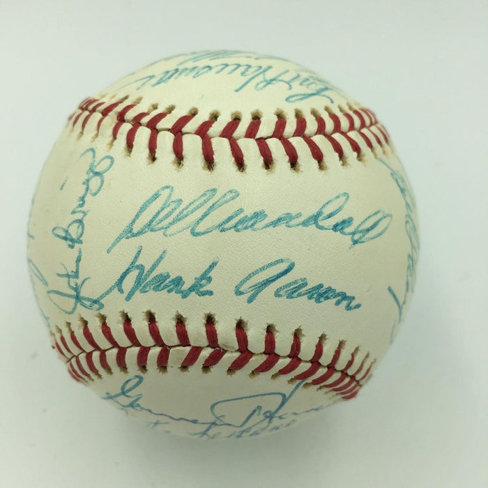 The Finest 1975 Milwaukee Brewers Team Signed AL Baseball Hank Aaron Yount PSA