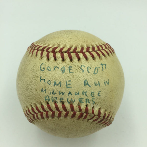 George Scott Game Used Actual 36th Home Run Baseball 9/26/1975 PSA DNA COA