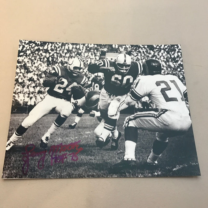 Lenny Moore HOF 75 Signed Autographed 8x10 Photo Baltimore Colts