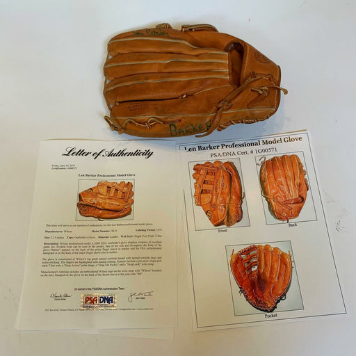 Rare Len Barker 1979 Signed Game Used Baseball Glove With PSA DNA COA