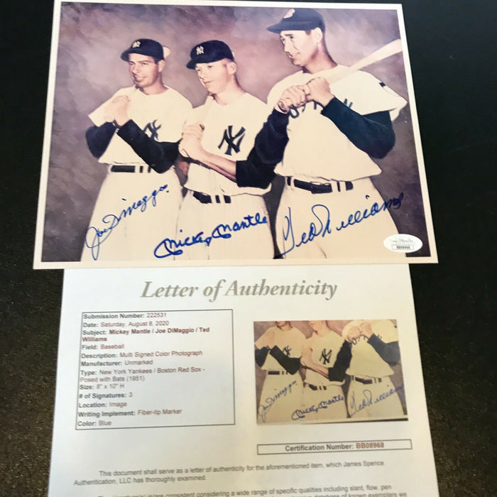 Mickey Mantle Joe DiMaggio Ted Williams Signed Autographed 8x10 Photo JSA COA