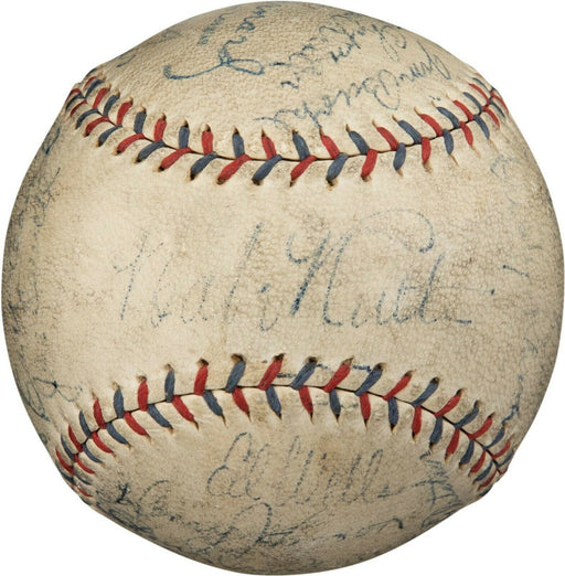 Babe Ruth & Lou Gehrig 1929 Yankees Team Signed Baseball With 10 HOFers PSA DNA