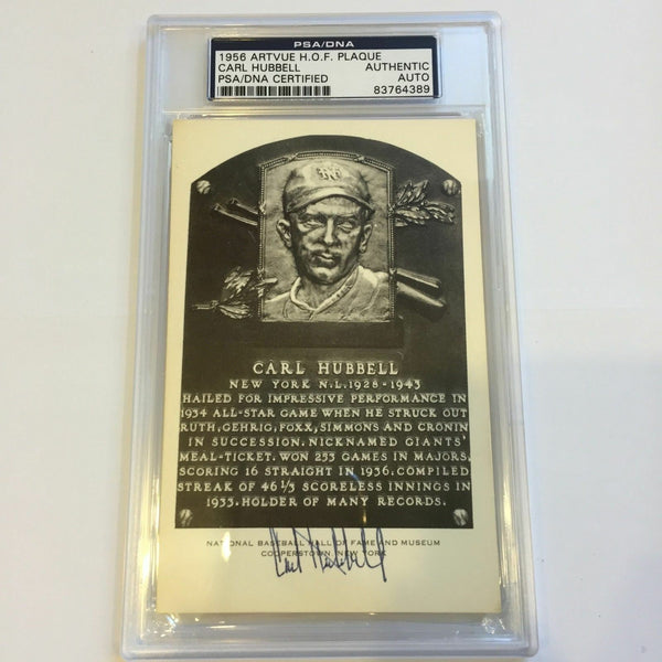 CARL HUBBELL SIGNED HOF ARTVUE BLACK & WHITE PLAQUE PSA DNA SLABBED AUTOGRAPHED