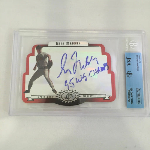 Greg Maddux Signed Autographed 1996 Upper Deck SP Inscribed 95 World Champs BGS