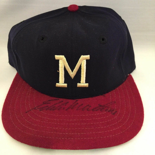 1950's Hank Aaron & Eddie Mathews Signed Game Issued Milwaukee Braves Cap JSA