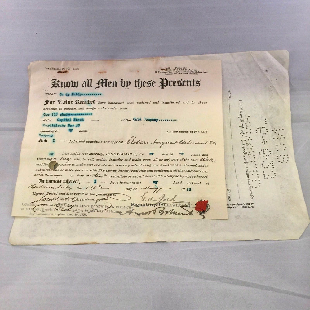 Rare 1923 August Belmont Jr. Signed Stock Certificate Belmont Stakes PSA DNA COA