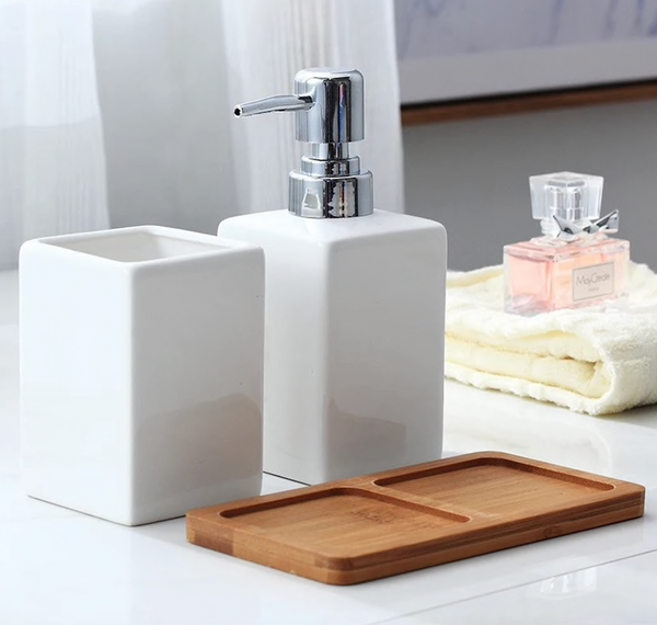 Minimalist Ceramic Bath Set With Tray Set/3
