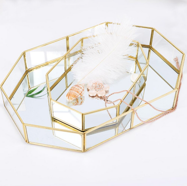 Vienna Glass Framed Decor Tray