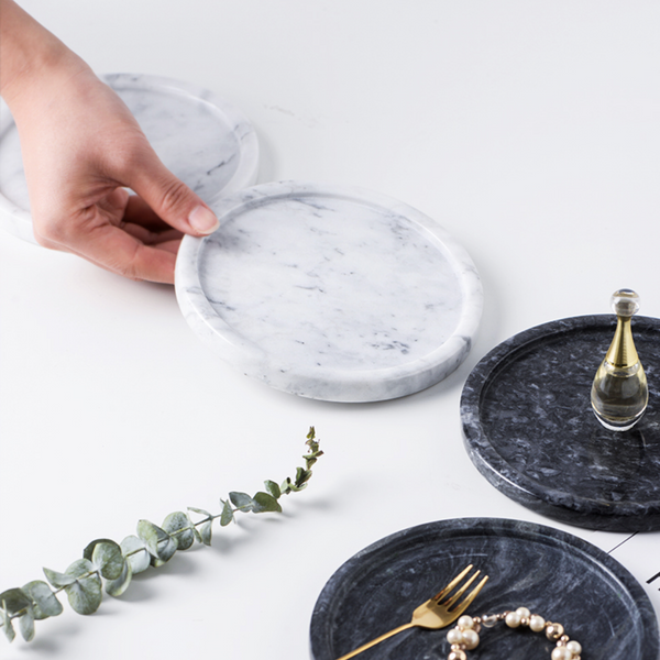Maison Round Marble Decor Tray